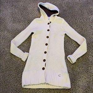 Roxy beige knit hooded cardigan sweater EUC  M